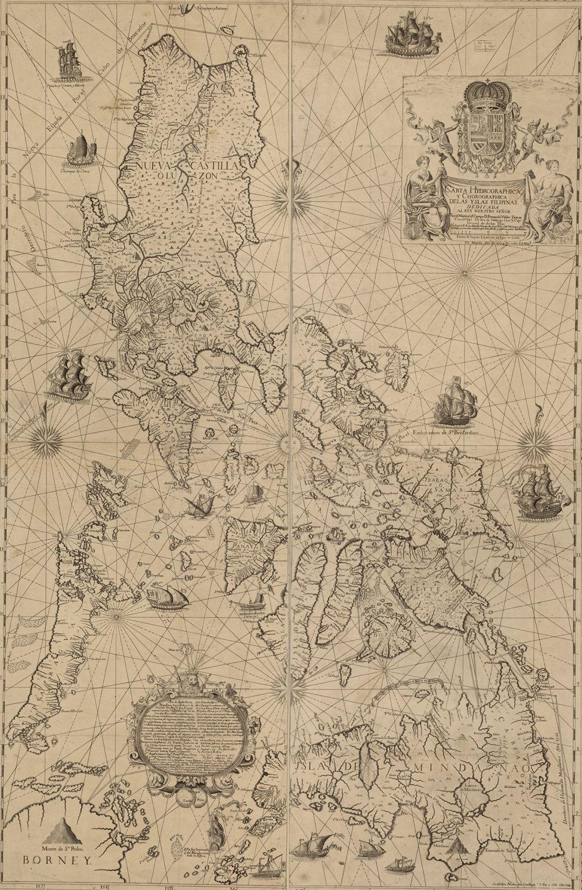 Jesuit Father, Pedro Murillo Velarde's (1696-1753), 1734 map illustrating Spanish controlled Philippines